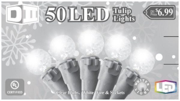 SW: 50 Ball UL Light Set LED- Cool White Bulbs
