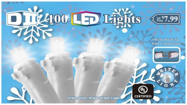 SB: 100 UL Light Set LED Cool White w/White Wire