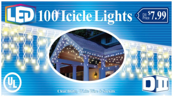 100 UL Light Icicle LED -White Wire/Cool White Blb