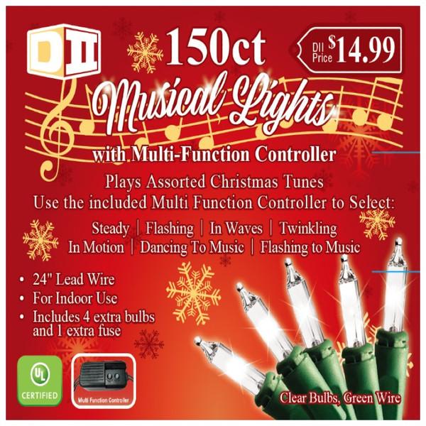 150ct Musical UL Light Set White w/Controller