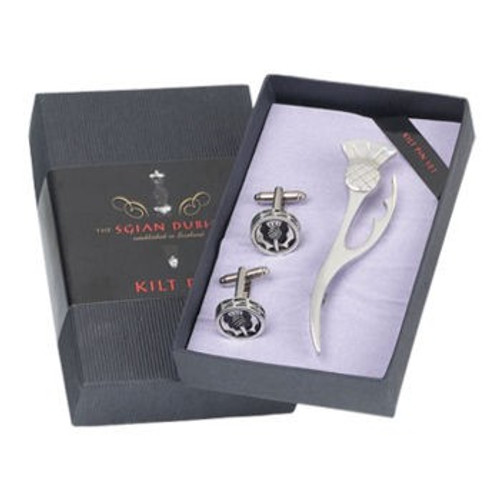 Kilt Pin and Cufflinks 2 Piece Modern Thistle Gift Set