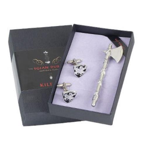 Kilt Pin and Cufflinks 2 Piece Battleaxe Gift Set