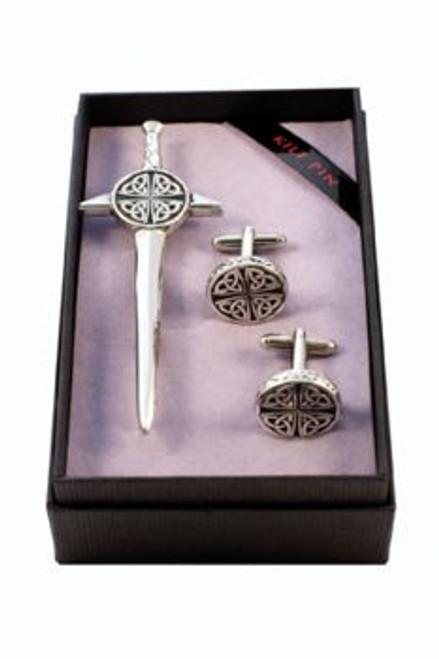 Kilt PIn and Cufflinks 2 Piece Celtic Gift Set