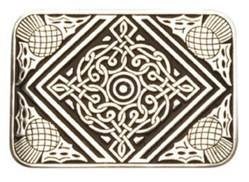 Thistle and Celtic Design Pewter Belt Buckle