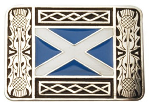 Thistle And Saltire Pewter Belt Buckle