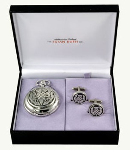 Large Thistle 2 Piece Pocket Watch Gift Set
