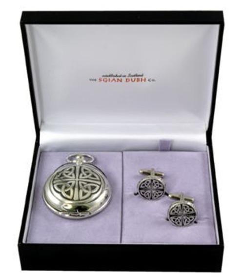 Celtic 2 Piece Mechanical Pocket Watch Gift Set