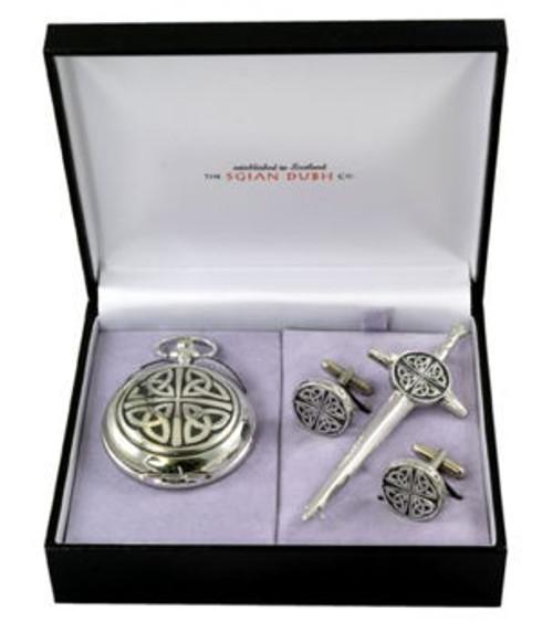 Celtic 3 Piece Mechanical Pocket Watch Gift Set