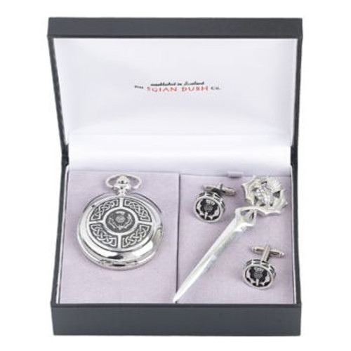 Celtic / Thistle 3 Piece Mechanical Pocket Watch Gift Set