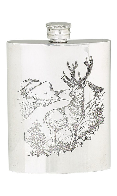 Stag Pewter Hip Flask