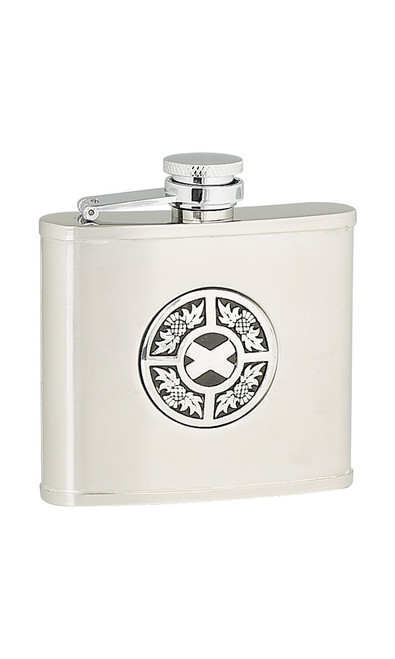 Thistle / Saltire Stainless Steel Flask 4 ounce