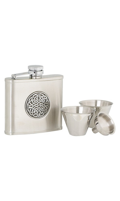 Celtic 4 ounce Stainless Steel Hip Flask Set