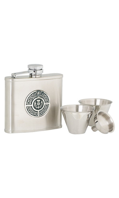 Celtic/Thistle Stainless Steel Hip Flask Set