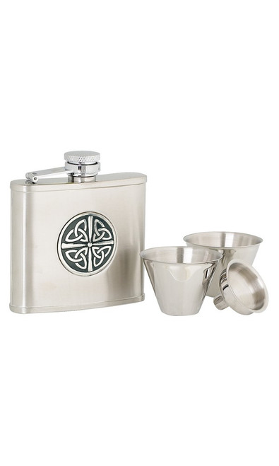 Celtic Stainless Steel Hip Flask Set