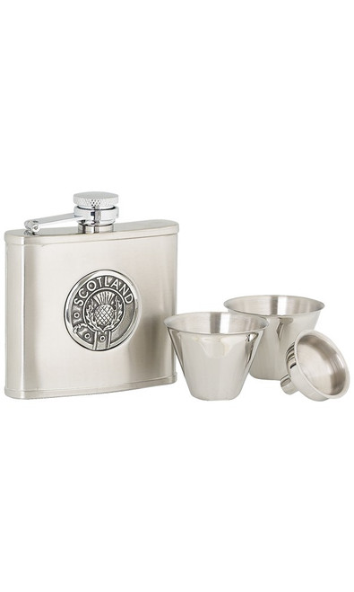 Scotland Stainless Steel Hip Flask Set