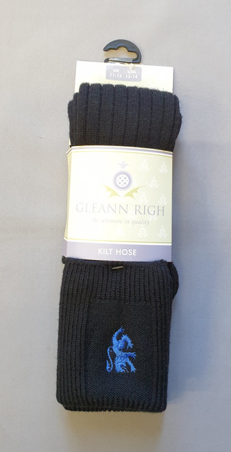 Torvaig black sock with blue lion