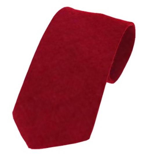 Plain Twill Wool Tie - Dark Ruby
