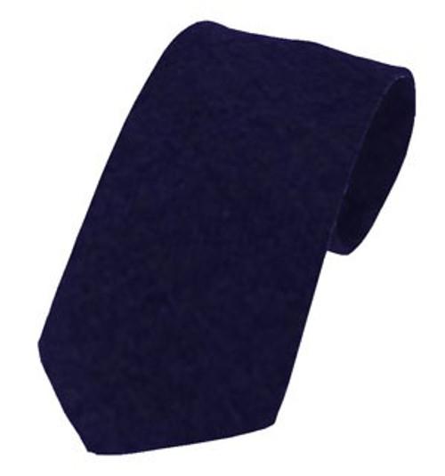 Plain Twill Wool Tie - Navy