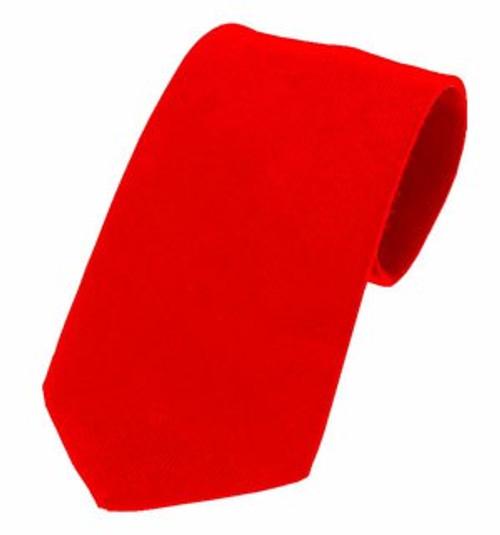 Plain Twill Wool Tie - Scarlet