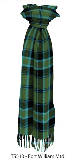Muted Fort William District Tartan Lambswool Scarf