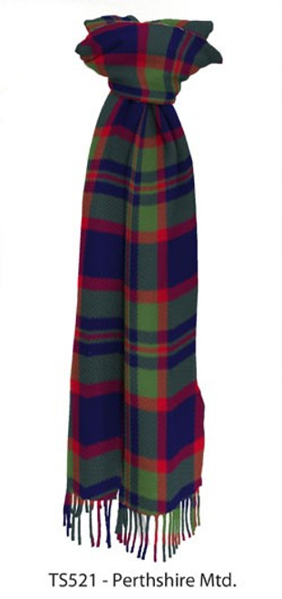 Muted Perthshire District Tartan Lambswool Scarf