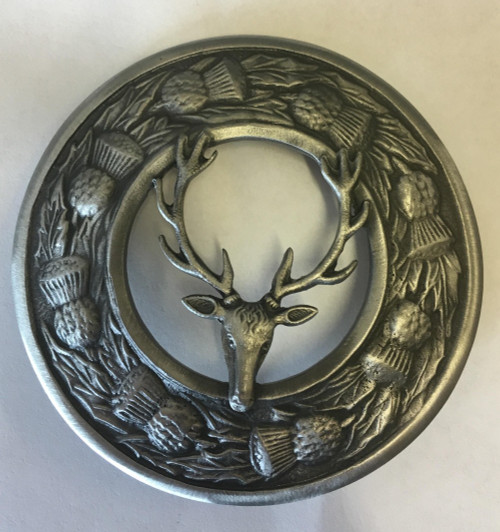 Thistle plaid brooch with stag mount. Antique