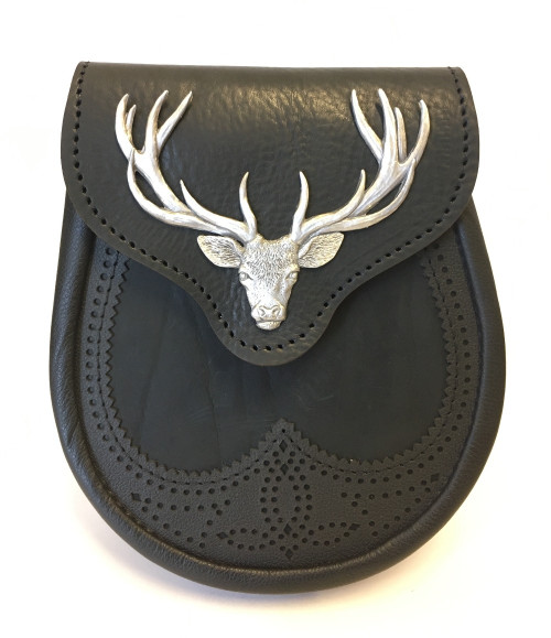 Black Saddle Leather Sporran with Pewter Stag Mount