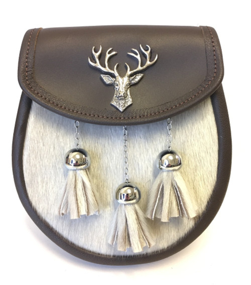 Brown leather semi dress sporran with stag mount