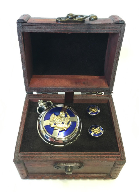Saltire and Thistle Watch and Cufflinks in Wooden Chest