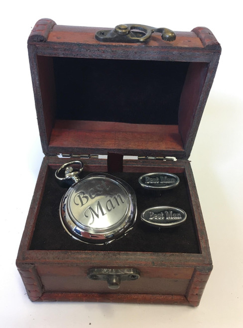 Best Man Pocket Watch and Cufflinks in Chest