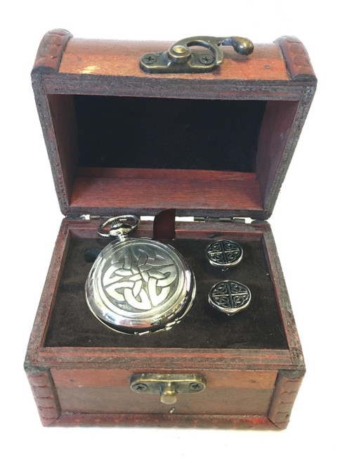 Square Knot Pocket Watch and Cufflinks in Chest