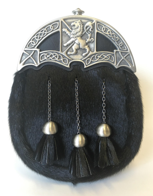 Rampant Lion Dress Sporran Black Seal Skin