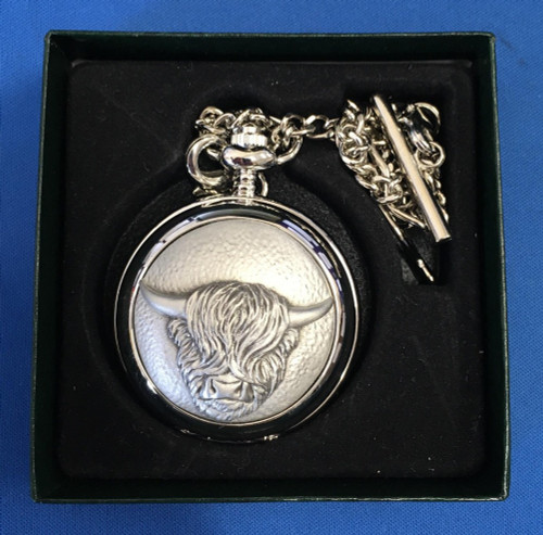 Highland Cow Mechanical Pocket Watch