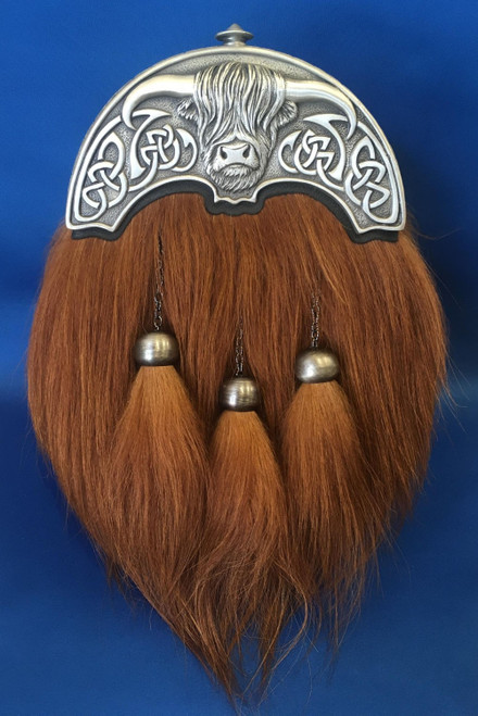 Highland Cow Dress Sporran - Matt pewter