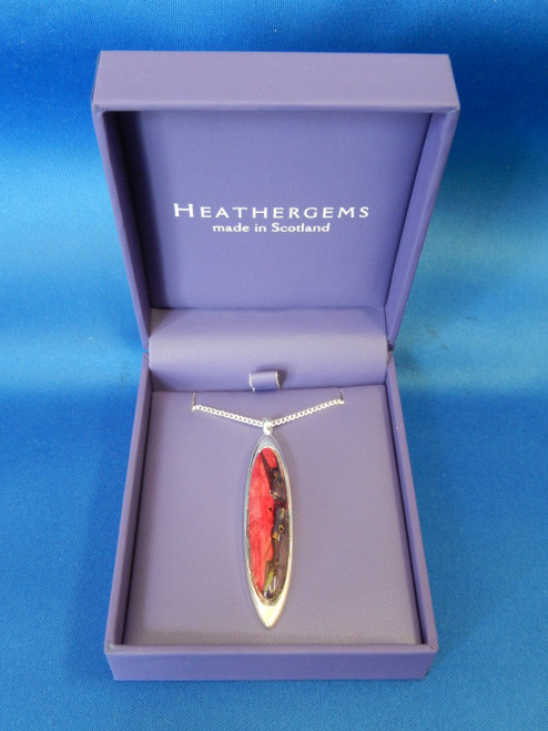 Heathergems Long Oval Silver Plated Pendent