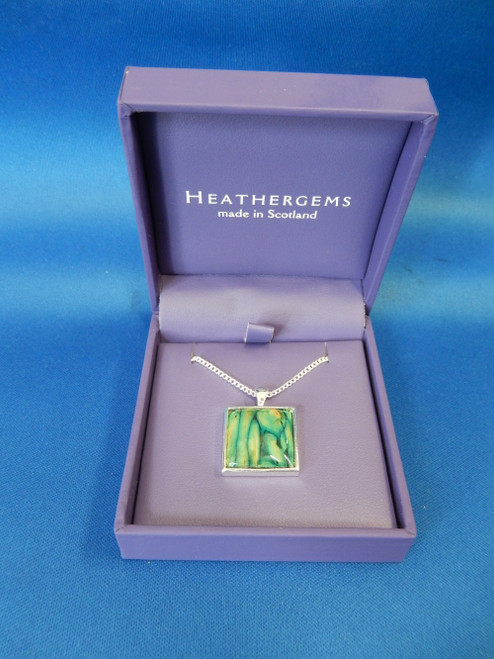 Heathergems Square SIlver Plated Pendant