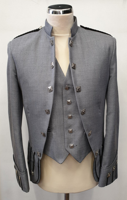 Grey Sheriffmuir Jacket and 5 button waistcoat (Ex-Hire)