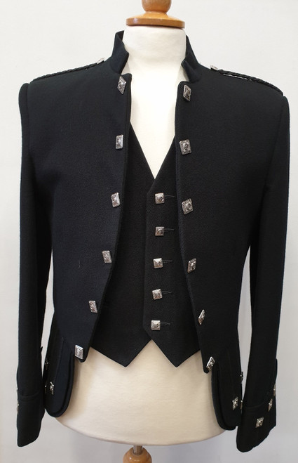Black Sheriffmuir Jacket and 5 button waistcoat (Ex-Hire)