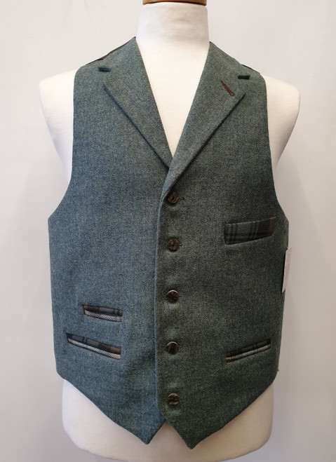 5 button tweed waistcoat with lamont tartan detail