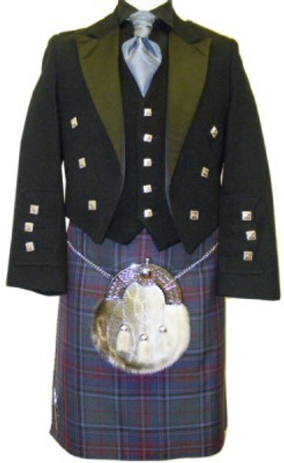 Black Prince Charlie Jacket with Grey Stewart Tartan Kilt