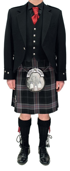 Black Argyll Jacket with Black Lochnagar Tartan Kilt
