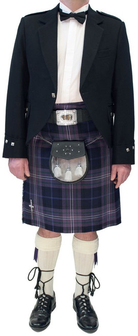 Black Argyll Jacket with Modern Scotland Forever Tartan Kilt