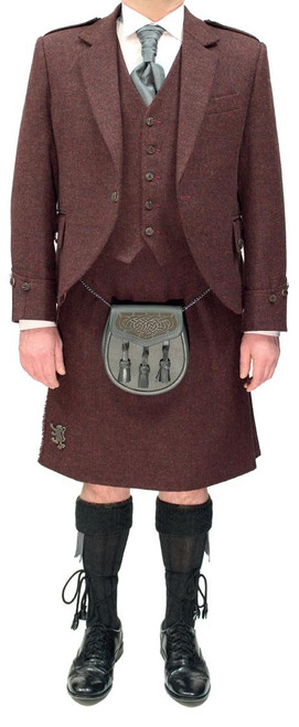 Burgundy Tweed Argyll Jacket with Burgundy Tweed Kilt