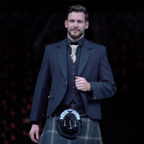 Charcoal Grey Tweed Argyll Jacket with Eternity Tartan Kilt