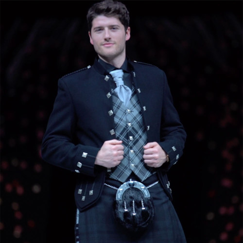 Two-Tartan Kilt Outfit with matching tartan waistcoat - Close-up