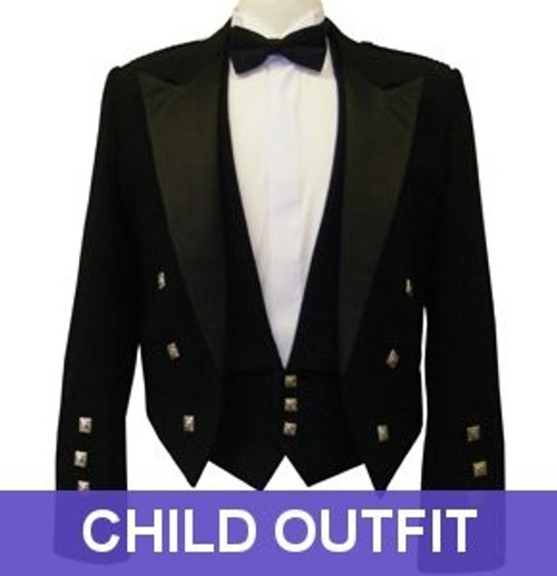 Black Prince Charlie Jacket - Child Outfit
