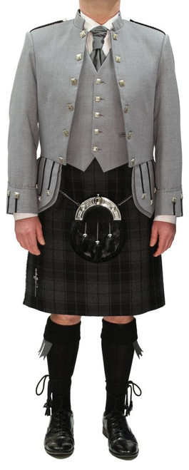 Grey Sheriffmuir Jacket with Grey Highlander Tartan Kilt