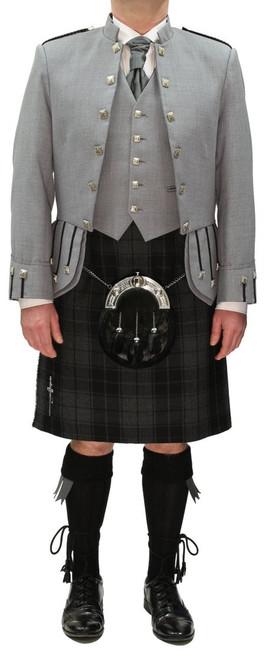 Grey Sheriffmuir Jacket with Grey Highlander Tartan Kilt