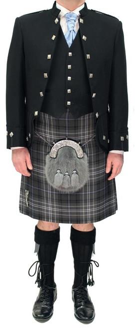 Black Sheriffmuir Jacket with Antique Scotland Forever Tartan Kilt