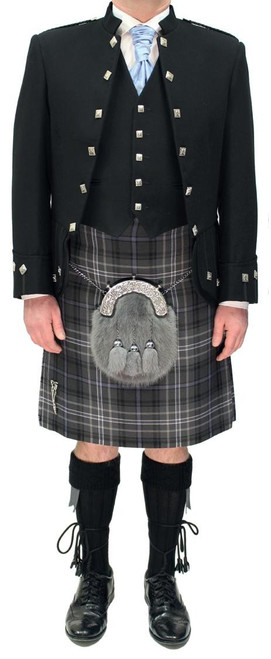 Black Sheriffmuir Jacket with Antique Scotland Forever Tartan Kilt